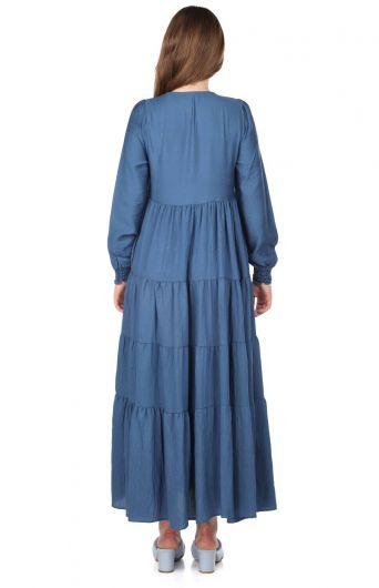 Gathered Long Straight Dress - Thumbnail