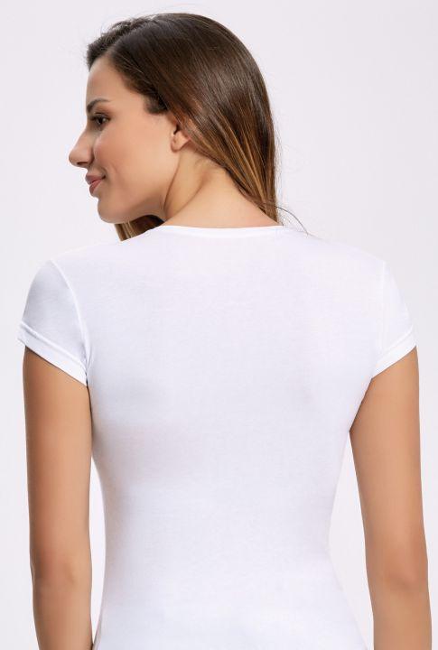 ILKE 2260 Likralı Yuvarlak Yaka Kadın T-shirt