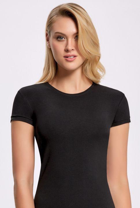 ILKE 2261 Likralı Yuvarlak Yaka Kadın T-shirt 5 Adet