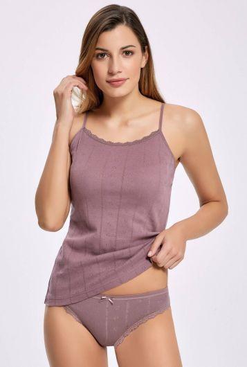 İlke 2294 Jakarlı (Transferli Ribana) İp Askılı Kadın Çamaşır Takım 5 Adet - Thumbnail