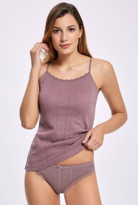 İlke 2294 Jakarlı (Transferli Ribana) İp Askılı Kadın Çamaşır Takım 5 Adet