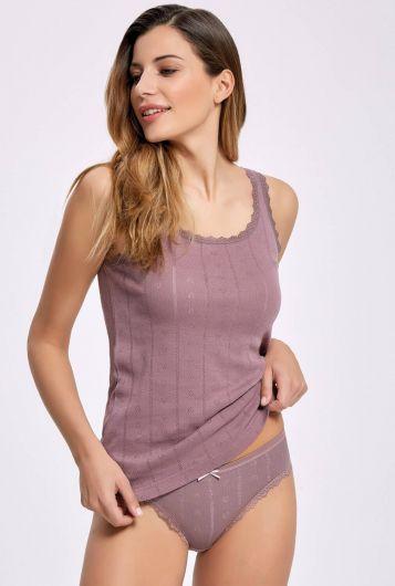 İlke 2295 Jakarlı (Transferli Ribana) Geniş Askılı Kadın Çamaşır Takım 3 Adet - Thumbnail