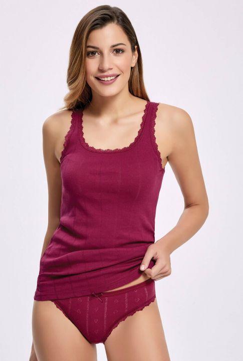 İlke 2295 Jakarlı (Transferli Ribana) Geniş Askılı Kadın Çamaşır Takım 3 Adet