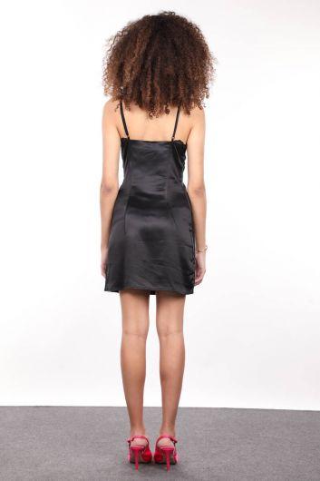 MARKAPIA WOMAN - İnce Askılı Yakası Güpürlü Siyah Saten Kadın Elbise (1)
