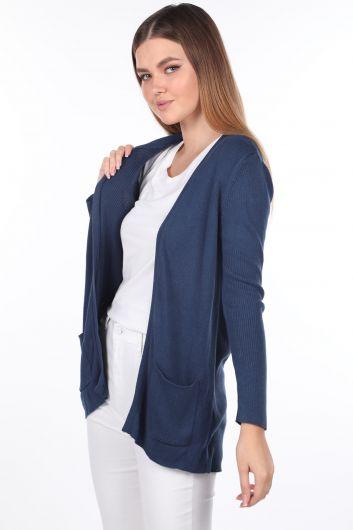 MARKAPIA WOMAN - Женский трикотажный кардиган цвета индиго с открытым передним карманом (1)
