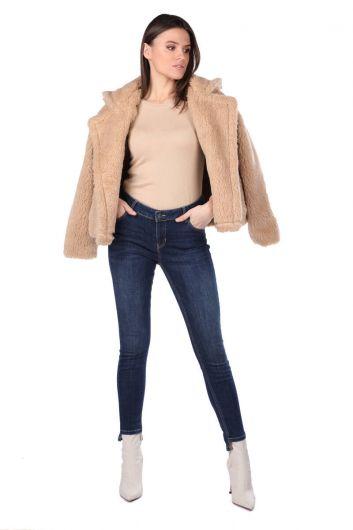 Женские джинсовые брюки цвета индиго с деталями на ногах - Thumbnail