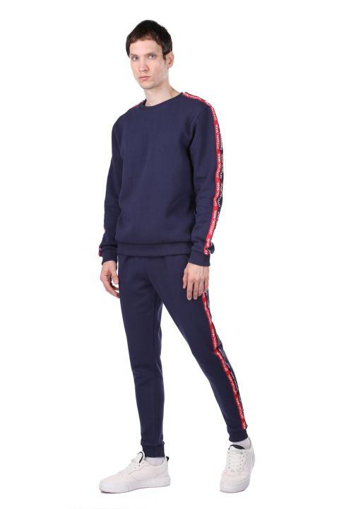Мужской спортивный костюм с внутренним флисом и полосой по бокам