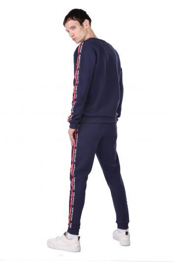 Мужской спортивный костюм с внутренним флисом и полосой по бокам - Thumbnail