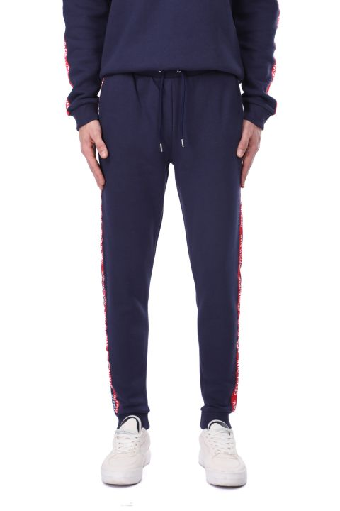 Men's Sweatpants with Ribbed and Side Stripe