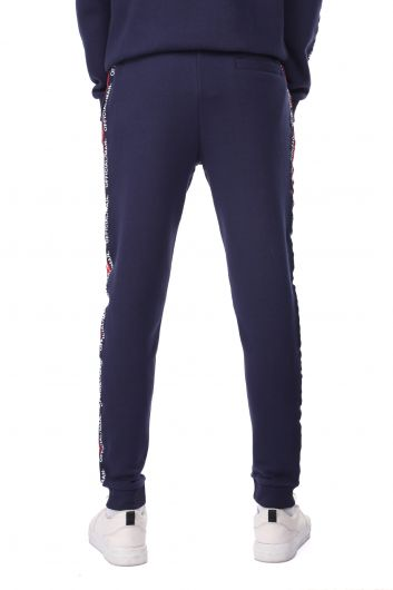 Men's Sweatpants with Ribbed and Side Stripe - Thumbnail