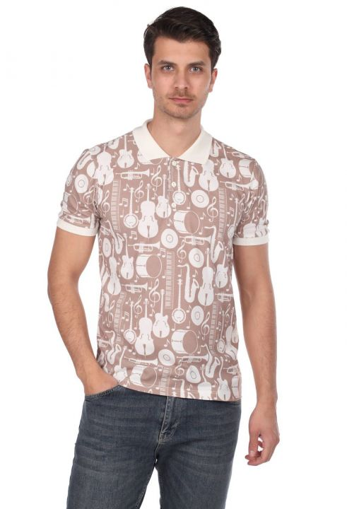 Polo Neck Men's T-Shirt with Instrument Pattern