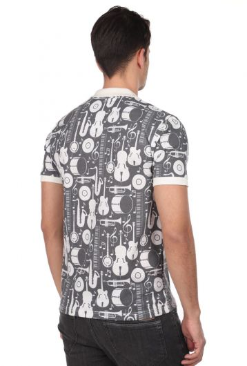 Polo Neck Men's T-Shirt with Instrument Pattern - Thumbnail