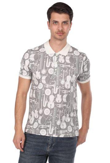 PHAZZ - Мужская футболка с воротником-поло с рисунком инструментов (1)