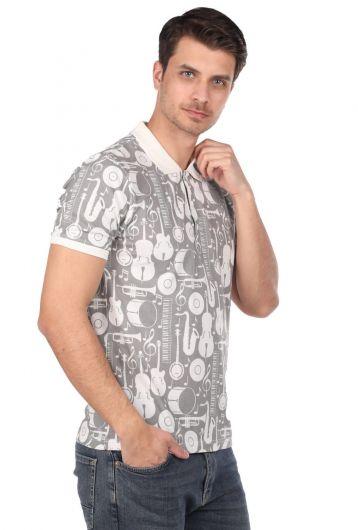 Мужская футболка с воротником-поло с рисунком инструментов - Thumbnail