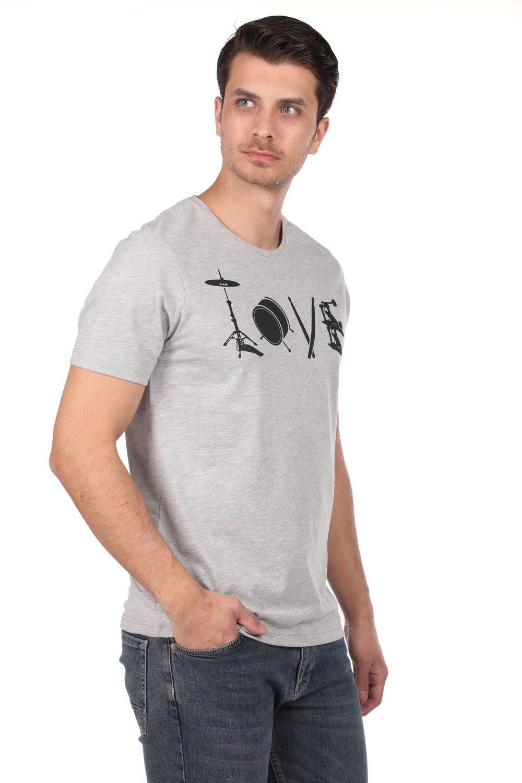 Мужская футболка с круглым вырезом и узором в виде инструментов