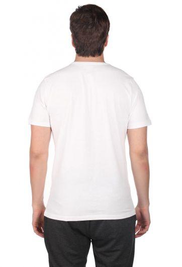 Men's Crew Neck T-Shirt with Instrument Pattern - Thumbnail