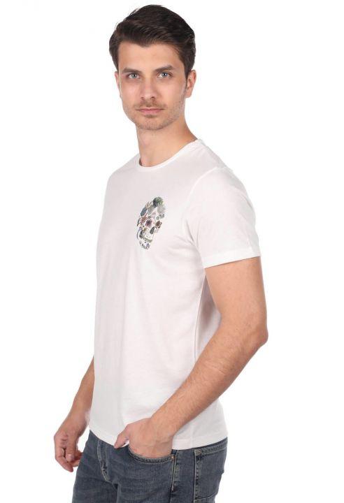 Kuru Kafa Desenli Erkek Bisiklet Yaka T-Shirt