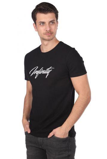 MARKAPIA MAN - Черная мужская футболка с круглым вырезом с принтом Infınıty (1)