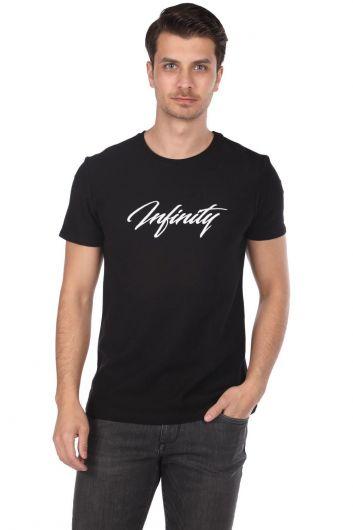 Infınıty Baskılı Erkek Siyah Bisiklet Yaka T-Shirt - Thumbnail