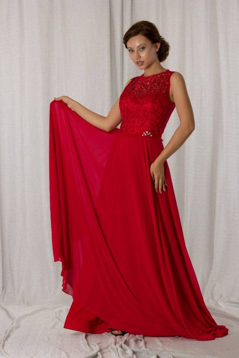 Кружевное длинное красное шифоновое вечернее платье с деталями