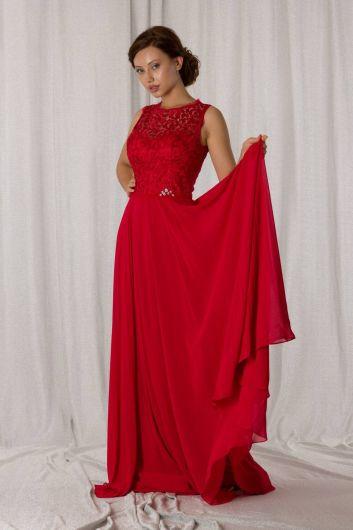 Кружевное длинное красное шифоновое вечернее платье с деталями - Thumbnail