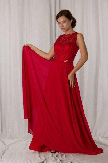 Dantel Detaylı Uzun Kırmızı Şifon Abiye - Thumbnail