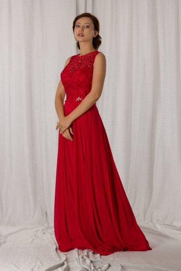 shecca - Dantel Detaylı Uzun Kırmızı Şifon Abiye (1)