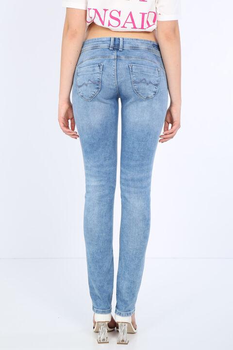 Kadın Açık Mavi Cep Detaylı Jean Pantolon