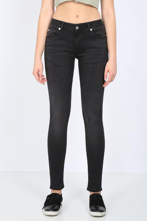 Kadın Antrasit Orta Bel Skinny Jean Pantolon