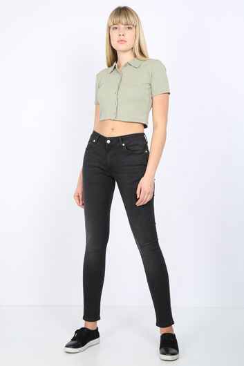 Kadın Antrasit Orta Bel Skinny Jean Pantolon - Thumbnail