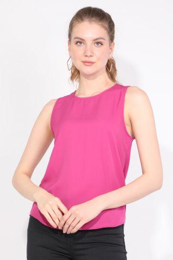 Kadın Arkası Pileli Kolsuz Bluz Pembe - Thumbnail