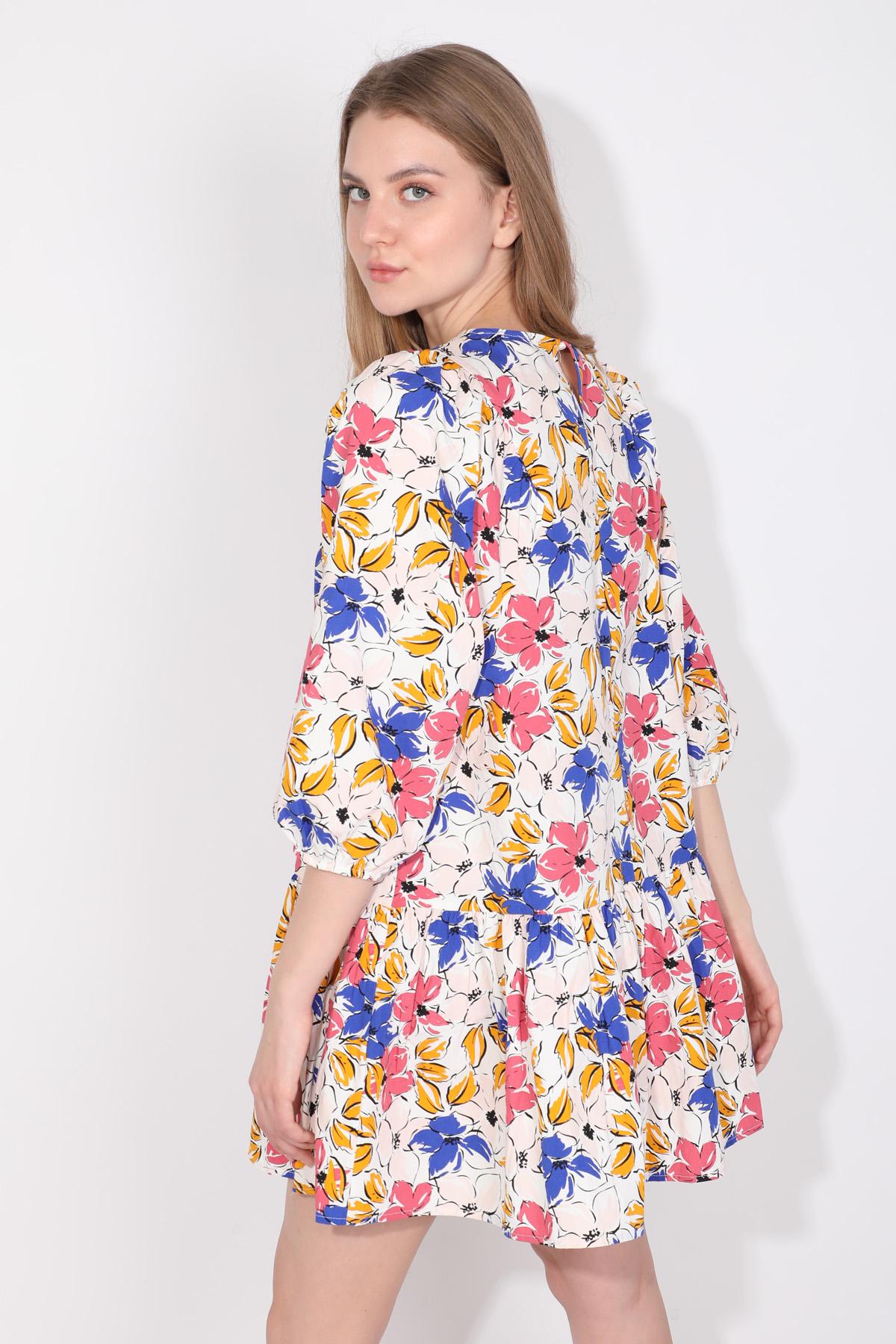 Kadın Balon Kol Büzgülü Poplin Elbise