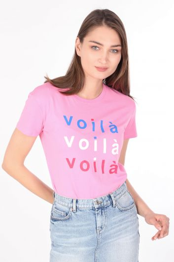 Kadın Baskılı Bisiklet Yaka T-shirt Pembe - Thumbnail