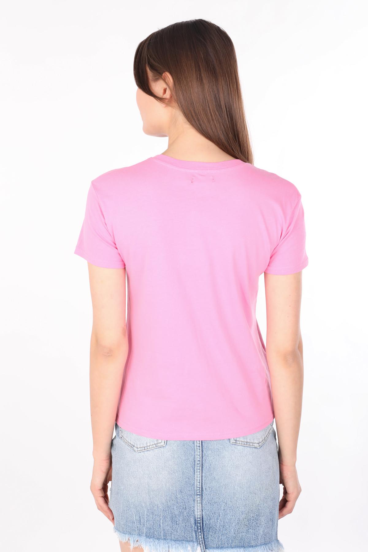 Kadın Baskılı Bisiklet Yaka T-shirt Pembe