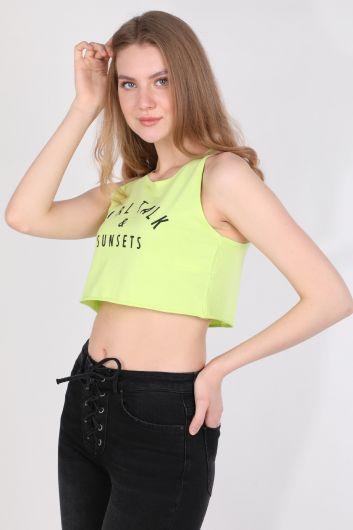 Kadın Baskılı Crop Kolsuz T-shirt Neon Yeşil - Thumbnail