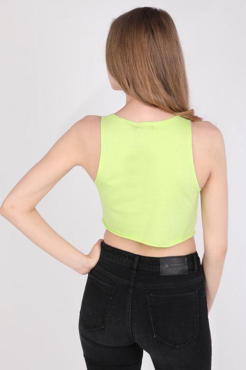 Kadın Baskılı Crop Kolsuz T-shirt Neon Yeşil