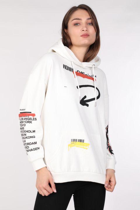 Kadın Baskılı Şardonlu Oversize Kapüşonlu Sweatshirt Beyaz