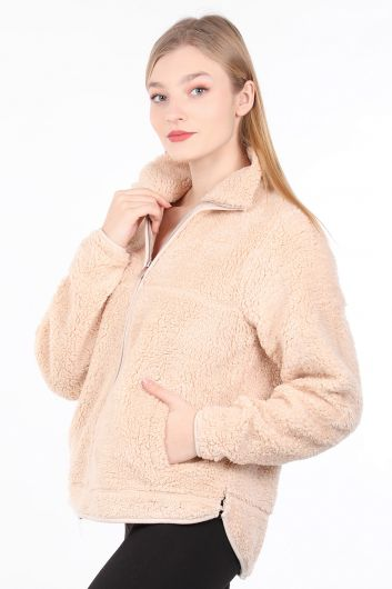 MARKAPIA WOMAN - Women's Beige Zippered Plush Sweatshirt (1)