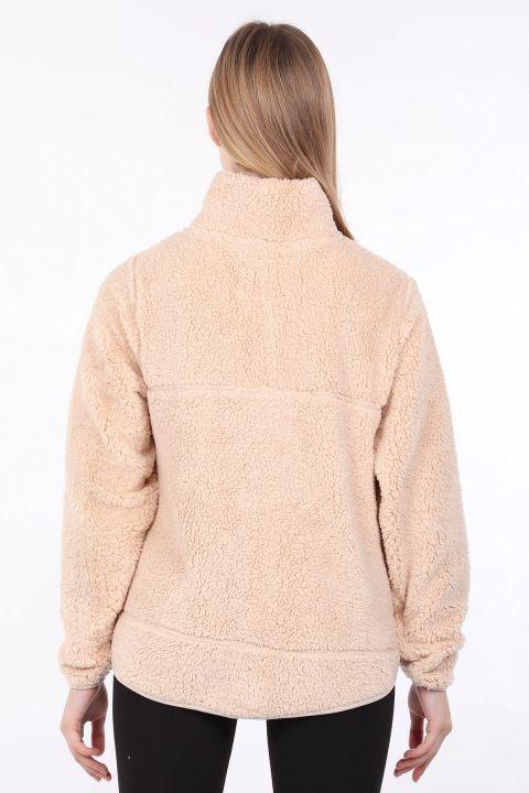 Kadın Bej Fermuarlı Peluş Sweatshirt