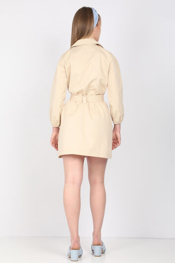 MARKAPIA WOMAN - Kadın Bej Kemerli Ceket Yaka Elbise (1)