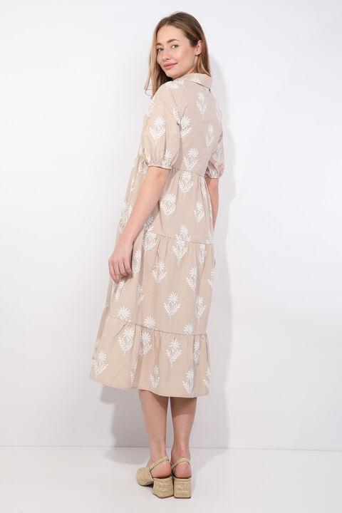 Kadın Bej Yarım Kol Baskı Desen Elbise