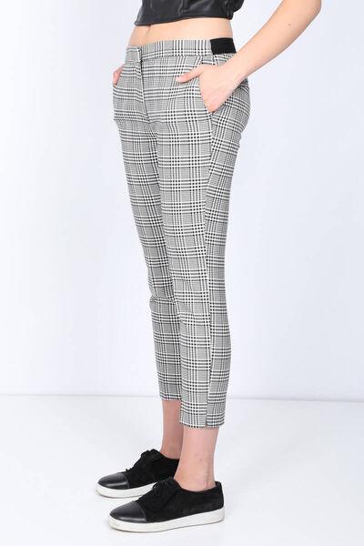MARKAPIA WOMAN - Kadın Belden Lastikli Ekose Kumaş Pantolon (1)