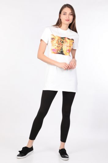 MARKAPIA WOMAN - Kadın Bisiklet Yaka Baskılı Uzun T-shirt Beyaz (1)