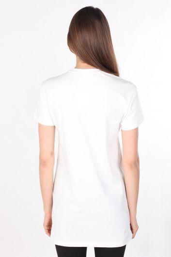 Kadın Bisiklet Yaka Baskılı Uzun T-shirt Beyaz - Thumbnail