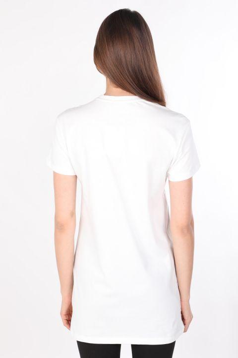 Kadın Bisiklet Yaka Baskılı Uzun T-shirt Beyaz