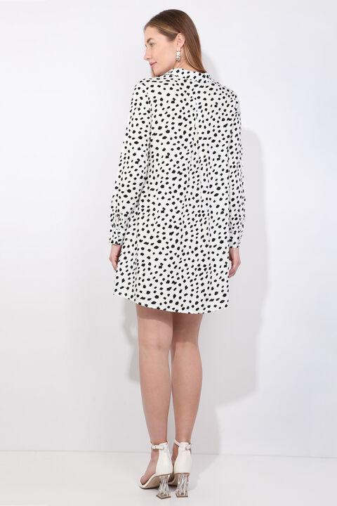 Kadın Beyaz Dalmaçya Desenli Uzun Gömlek
