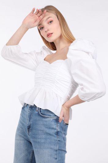 MARKAPIA WOMAN - Kadın Beyaz Drapeli Crop Bluz (1)