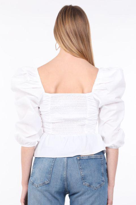 Kadın Beyaz Drapeli Crop Bluz