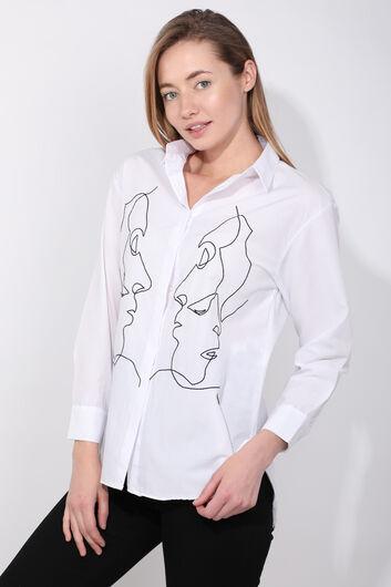 MARKAPIA WOMAN - Kadın Beyaz Figürlü Gömlek (1)