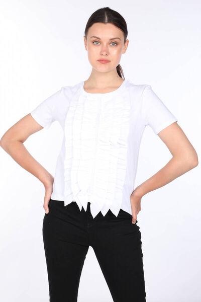 MARKAPIA WOMAN - Kadın Beyaz Fırfırlı Bisiklet Yaka T-shirt (1)